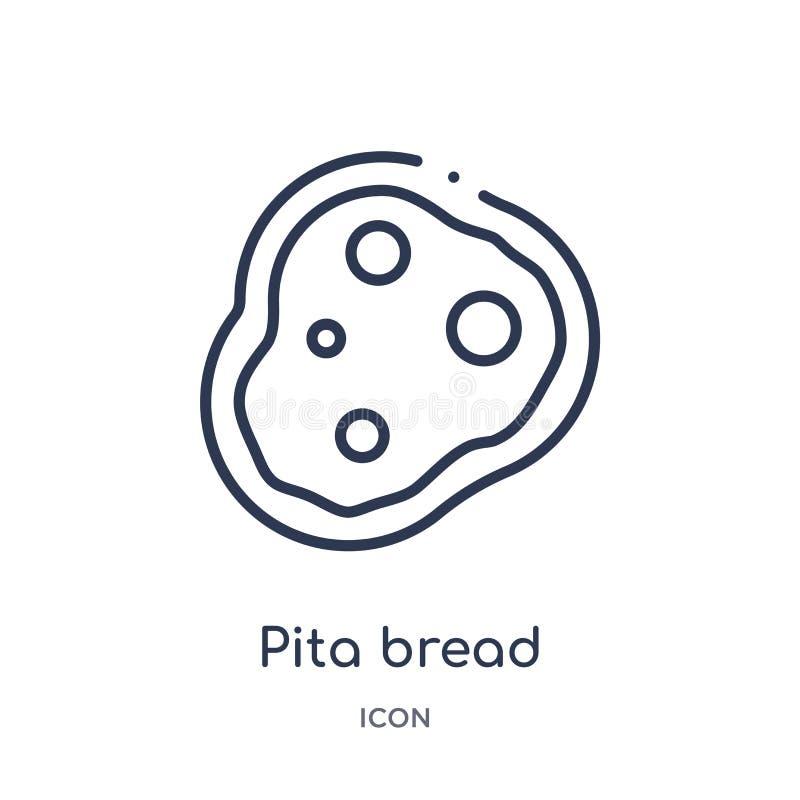 Lineare Pittabrotikone von der Bistro- und Restaurantentwurfssammlung Dünne Linie Pittabrotvektor lokalisiert auf weißem Hintergr vektor abbildung