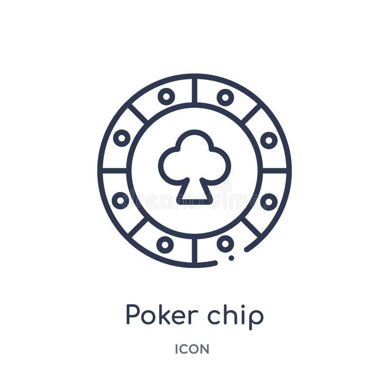Lineare Pokerchipikone von der Unterhaltung und von der Säulengangentwurfssammlung Dünne Linie Pokerchipvektor lokalisiert auf we lizenzfreie abbildung