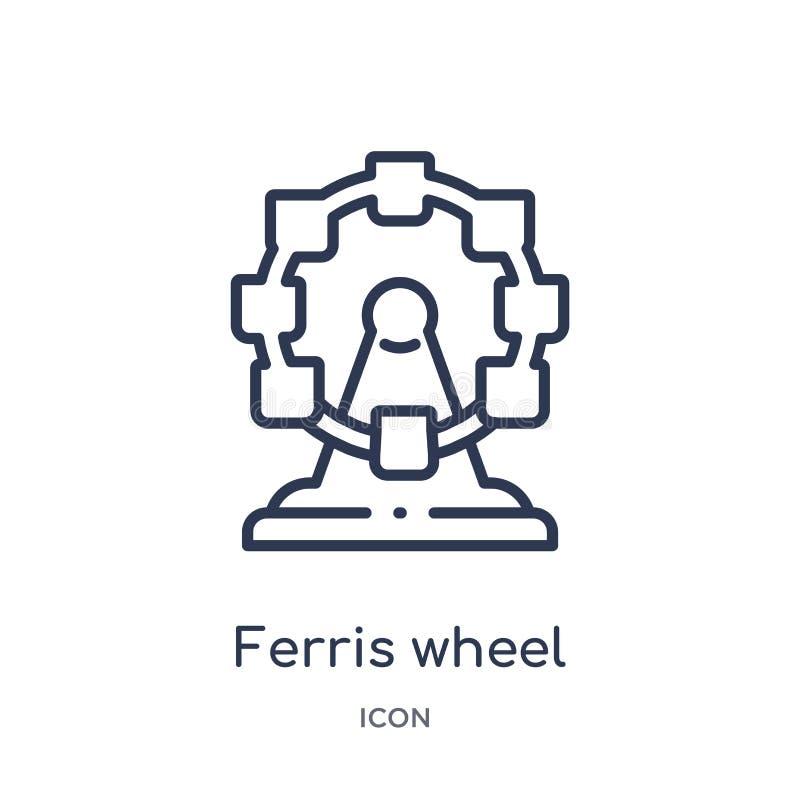 Lineare Riesenrad Ikone von der Zirkusentwurfssammlung Dünne Linie Riesenradvektor lokalisiert auf weißem Hintergrund Ferris Whee stock abbildung