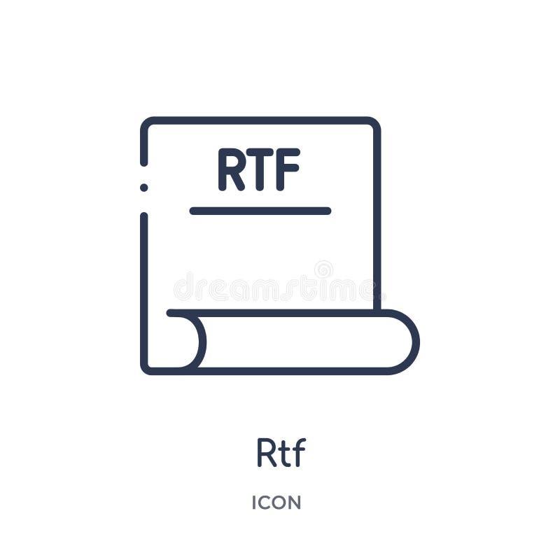 Lineare rtf-Ikone von der Dateiart Entwurfssammlung Dünne Linie rtf-Vektor lokalisiert auf weißem Hintergrund modische Illustrati stock abbildung