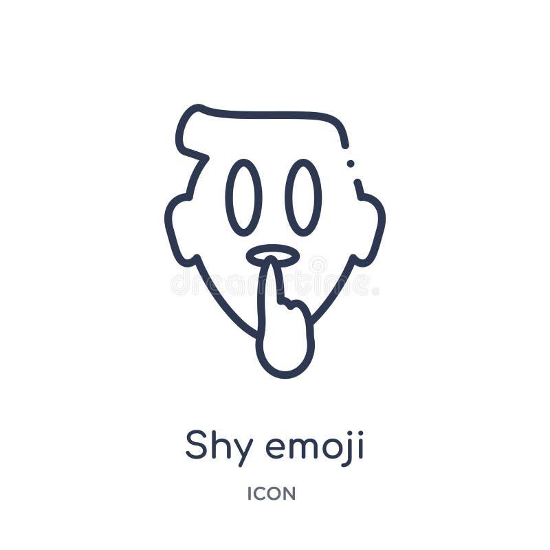 Lineare schüchterne emoji Ikone von der Emoji-Entwurfssammlung Dünne Linie schüchterner emoji Vektor lokalisiert auf weißem Hinte stock abbildung