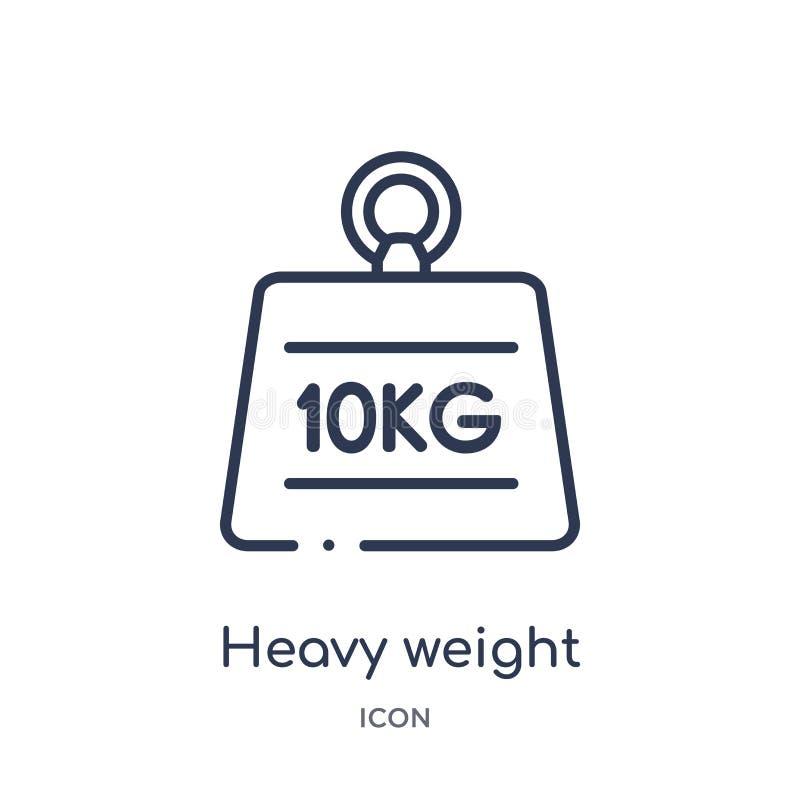 Lineare Schwergewichts- Ikone von der Maßentwurfssammlung Dünne Linie Schwergewichts- Ikone lokalisiert auf weißem Hintergrund sc lizenzfreie abbildung
