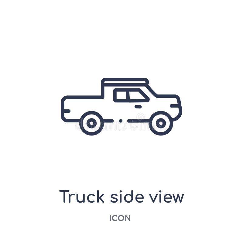 Lineare Seitenansichtikone des LKWs von der Mechanicons-Entwurfssammlung Dünne Linie Seitenansichtikone des LKWs lokalisiert auf  stock abbildung