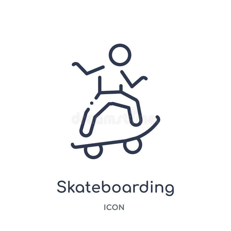 Lineare Skateboard fahrende Ikone von der Freizeitentwurfssammlung Dünne Linie, die den Vektor lokalisiert auf weißem Hintergrund lizenzfreie abbildung