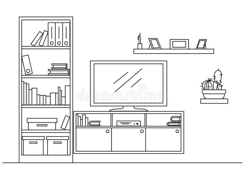 Design Regale Und Bücherschränke lineare skizze des innenraums bücherschrank aufbereiter mit