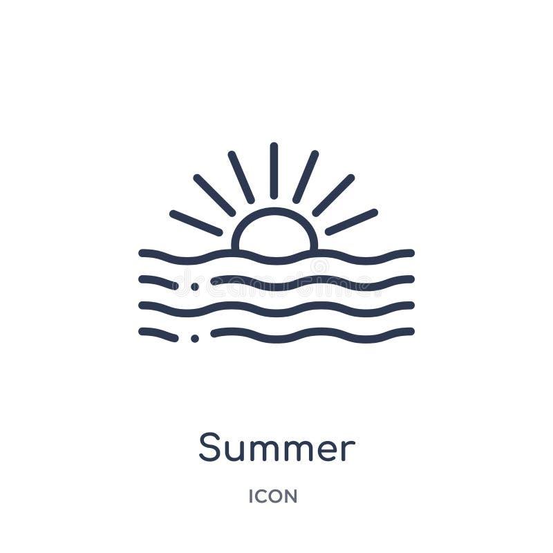 Lineare Sommerikone von der Meteorologieentwurfssammlung Dünne Linie Sommerikone lokalisiert auf weißem Hintergrund Sommer modisc stock abbildung