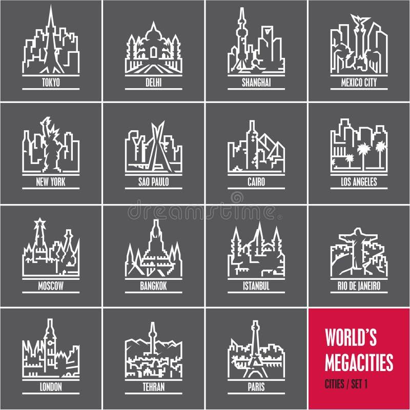 Lineare Städte, Stadtbild, Stadtskyline, Stadtvektorikonen stellten, Millionenstädte ein, lizenzfreie abbildung