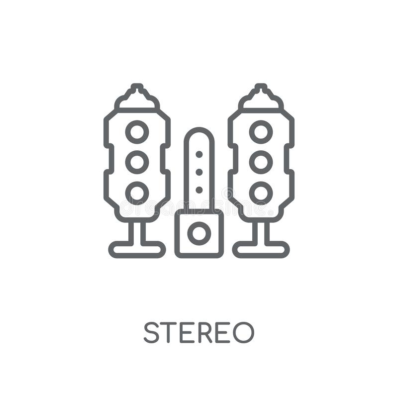 lineare Stereoikone Stereologokonzept des modernen Entwurfs auf Weiß stock abbildung