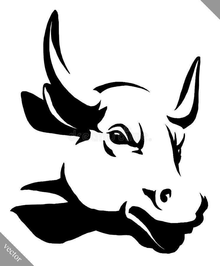 Lineare Stier-Vektorschwarzweiss-illustration des Farbenabgehobenen betrages lizenzfreie abbildung