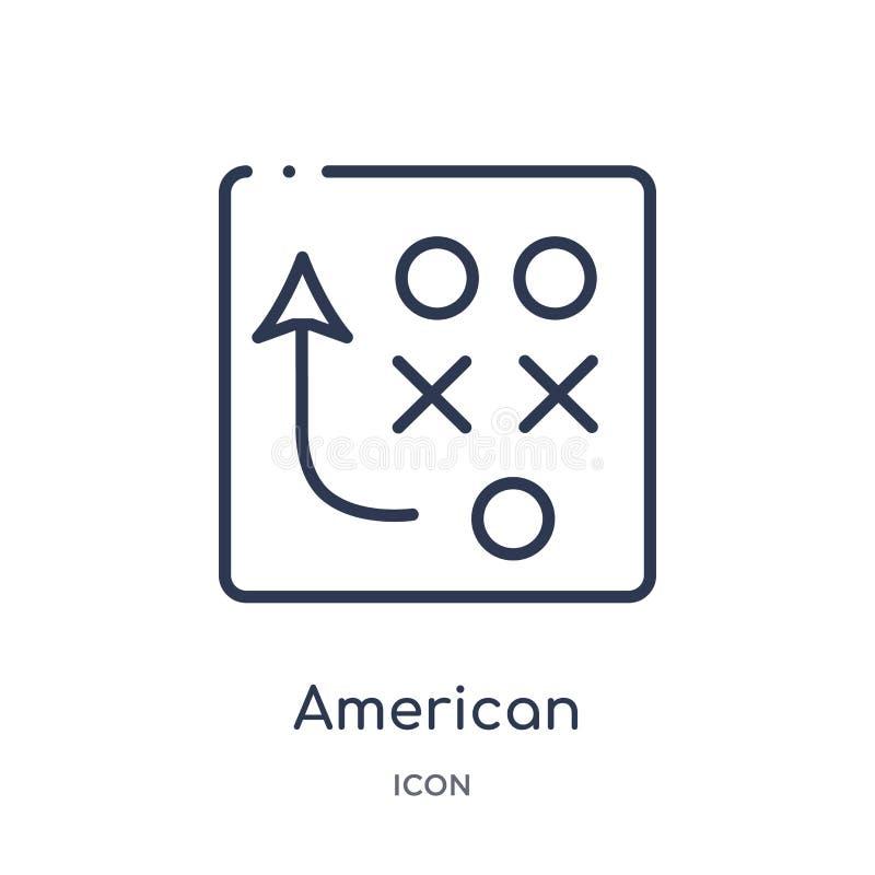 Lineare Strategieikone des amerikanischen Fußballs von der Entwurfssammlung des amerikanischen Fußballs Dünne Linie Strategievekt lizenzfreie abbildung