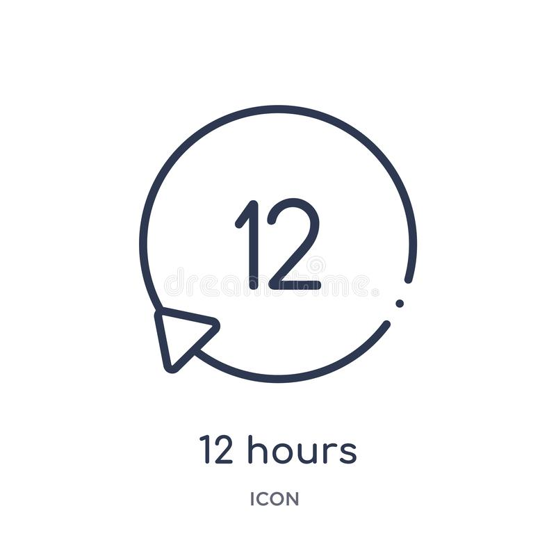 Lineare 12 Stunden Ikone von der Personalentwurfssammlung Dünne Linie 12 Stunden Ikone lokalisiert auf weißem Hintergrund 12 Stun lizenzfreie abbildung