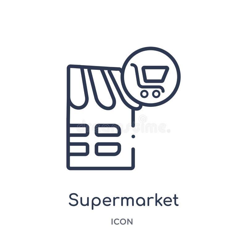 Lineare Supermarktikone von der Stadtelement-Entwurfssammlung Dünne Linie Supermarktvektor lokalisiert auf weißem Hintergrund stock abbildung