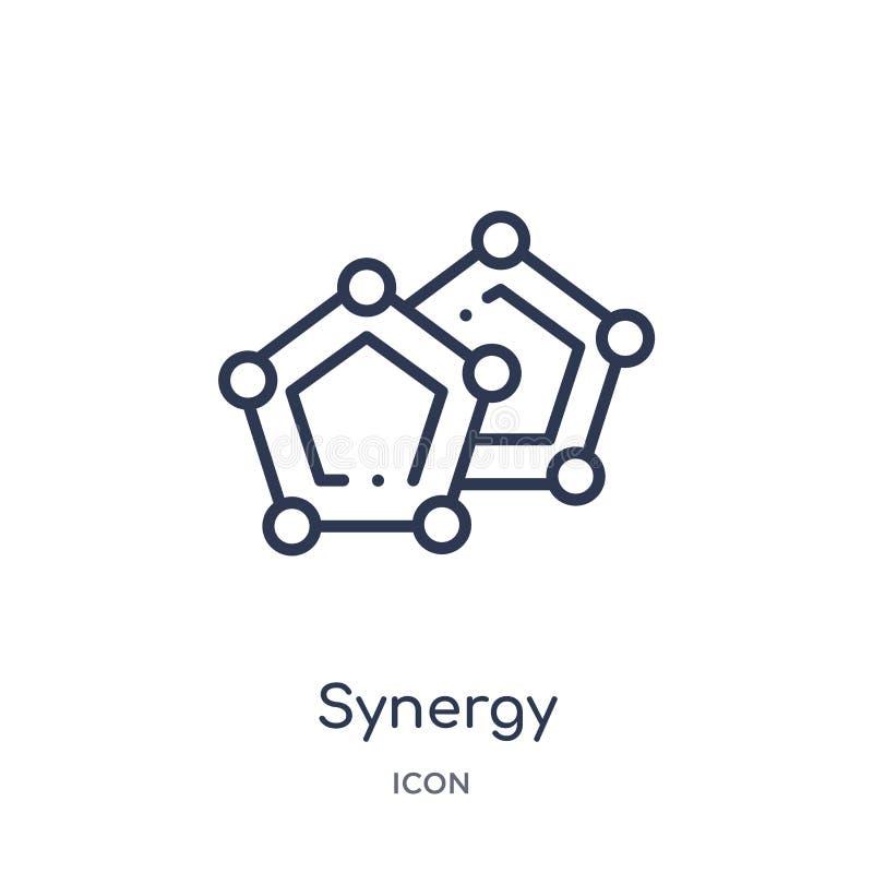 Lineare Synergieikone von der Geometrieentwurfssammlung Dünne Linie Synergieikone lokalisiert auf weißem Hintergrund Synergie mod lizenzfreie abbildung