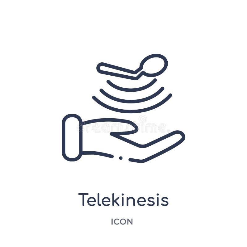 Lineare Telekineseikone von der zukünftigen Technologieentwurfssammlung Dünne Linie Telekineseikone lokalisiert auf weißem Hinter lizenzfreie abbildung