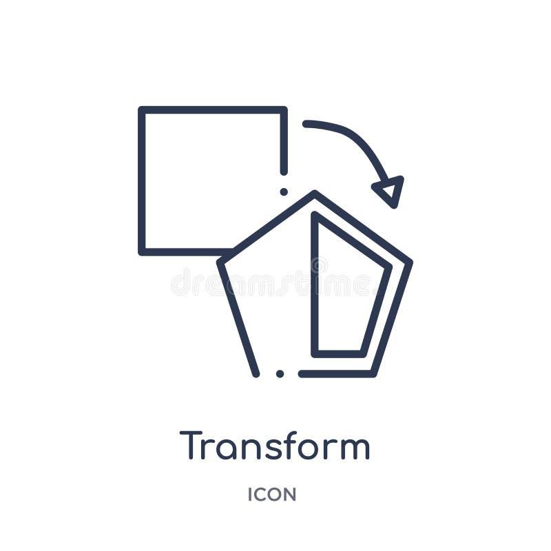 Lineare trasformi l'icona dalla figura geometrica raccolta del profilo La linea sottile trasforma l'icona isolata su fondo bianco illustrazione vettoriale