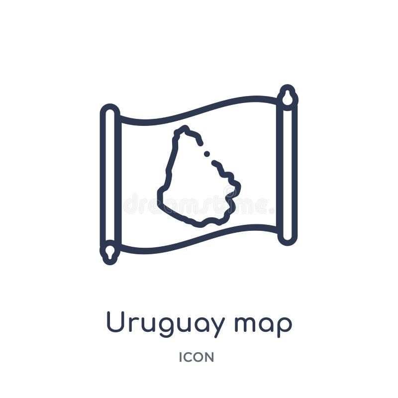 Lineare Uruguay-Kartenikone von der Countrymaps-Entwurfssammlung Dünne Linie Uruguay-Kartenvektor lokalisiert auf weißem Hintergr stock abbildung