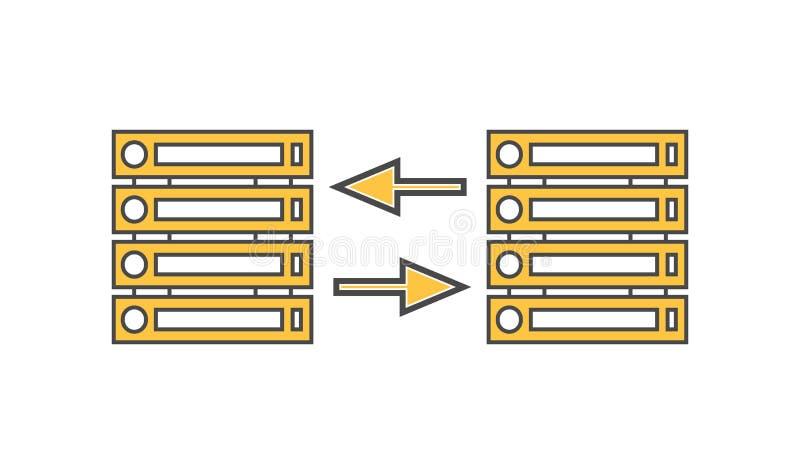 Lineare Vektorikone des Computerservernetzes lizenzfreie abbildung
