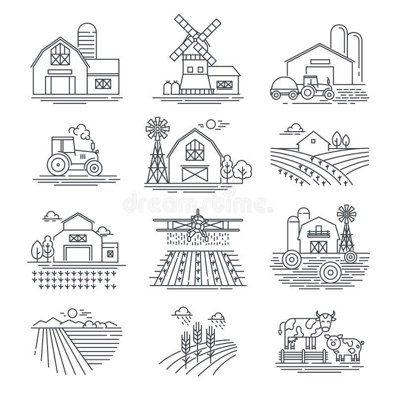 Lineare Vektorikonen der bewirtschaften Sie und Landwirtschaftsfelder auf weißem Hintergrund Landwirtschafts- und Landwirtschafts stock abbildung