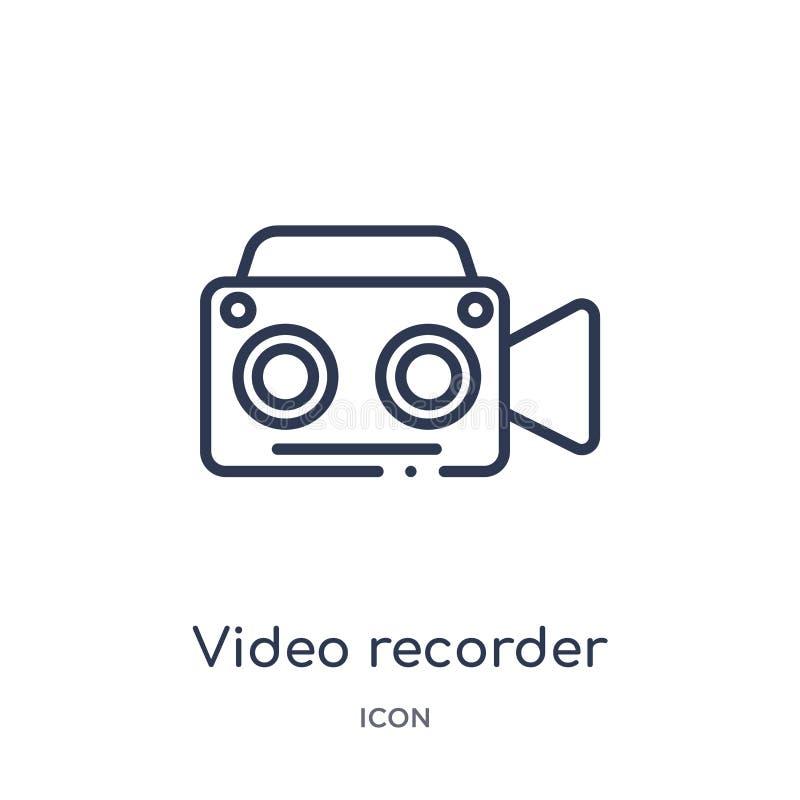 Lineare Videorecorderikone von der Entwurfssammlung der elektronischen Geräte Dünne Linie Videorecordervektor lokalisiert auf Wei stock abbildung