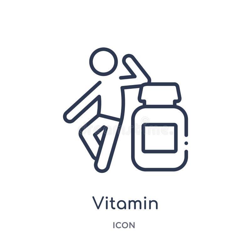 Lineare Vitaminikone von der Tätigkeit und von der Hobbyentwurfssammlung Dünne Linie Vitaminvektor lokalisiert auf weißem Hinterg lizenzfreie abbildung