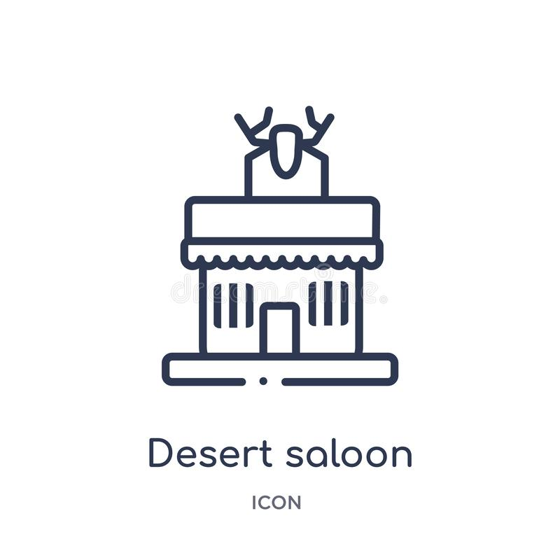 Lineare Wüstensaalikone von der Wüstenentwurfssammlung Dünne Linie Wüstensaalvektor lokalisiert auf weißem Hintergrund Wüste vektor abbildung