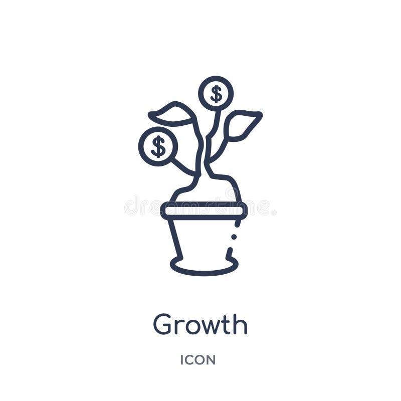 Lineare Wachstumsikone von der Digital-Wirtschaftsentwurfssammlung Dünne Linie Wachstumsvektor lokalisiert auf weißem Hintergrund lizenzfreie abbildung