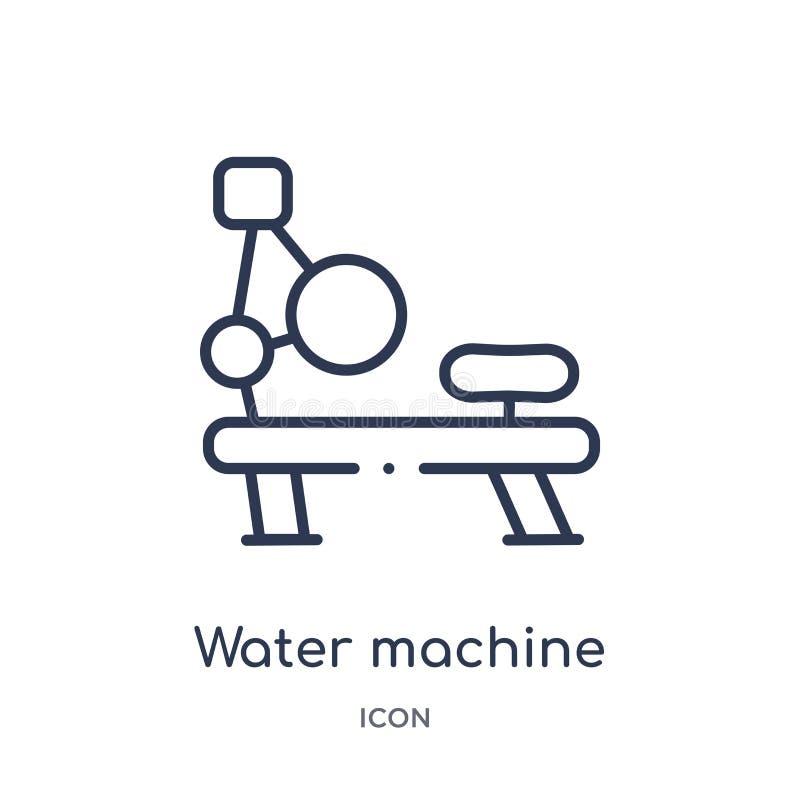 Lineare Wassermaschinenikone von der Turnhallenausrüstungs-Entwurfssammlung Dünne Linie Wassermaschinenikone lokalisiert auf weiß vektor abbildung