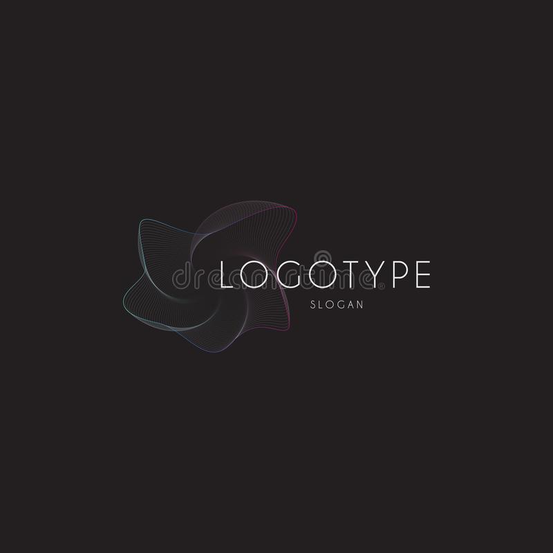 Lineare Welle des abstrakten Strudels, Fischnetz, Logo fischend, digitale Turbulenzvektorillustration, Musikentzerrerschablone lizenzfreie abbildung