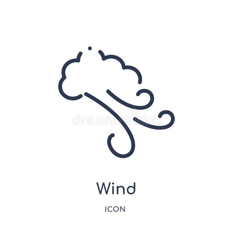 Lineare Windikone von der Herbstentwurfssammlung Dünne Linie Windvektor lokalisiert auf weißem Hintergrund modische Illustration  lizenzfreie abbildung
