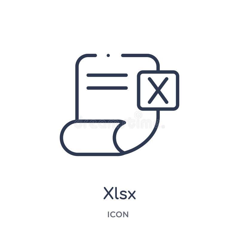 Lineare xlsx Ikone von der Entwurfssammlung der künstlichen Intelligenz Dünne Linie xlsx Vektor lokalisiert auf weißem Hintergrun stock abbildung