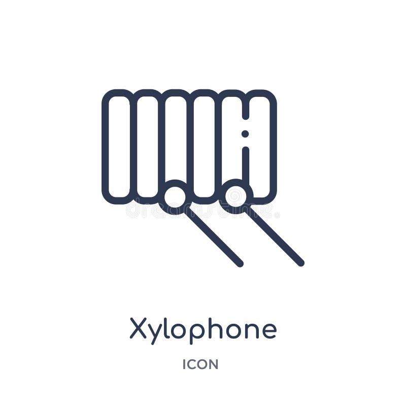 Lineare Xylophonikone von der Brazilia-Entwurfssammlung Dünne Linie Xylophonvektor lokalisiert auf weißem Hintergrund Xylophon mo stock abbildung