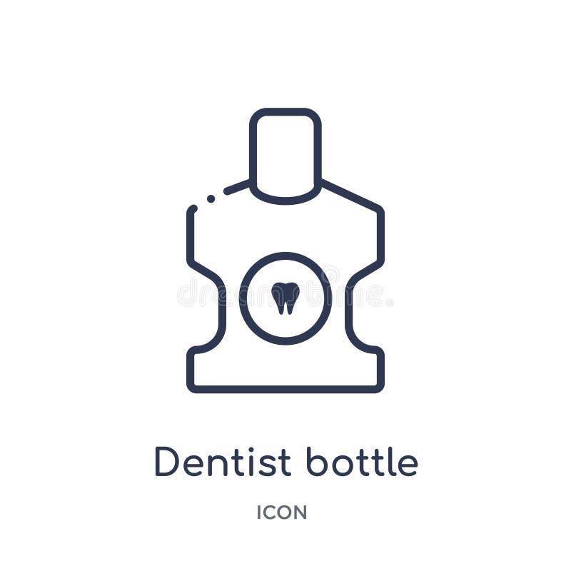 Lineare Zahnarztflasche mit flüssiger Ikone von der Zahnarztentwurfssammlung Dünne Linie Zahnarztflasche mit der flüssigen Ikone  vektor abbildung