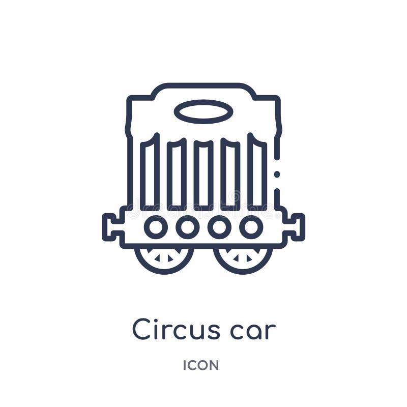 Lineare Zirkusautoikone von der Zirkusentwurfssammlung Dünne Linie Zirkusautovektor lokalisiert auf weißem Hintergrund Zirkusauto lizenzfreie abbildung