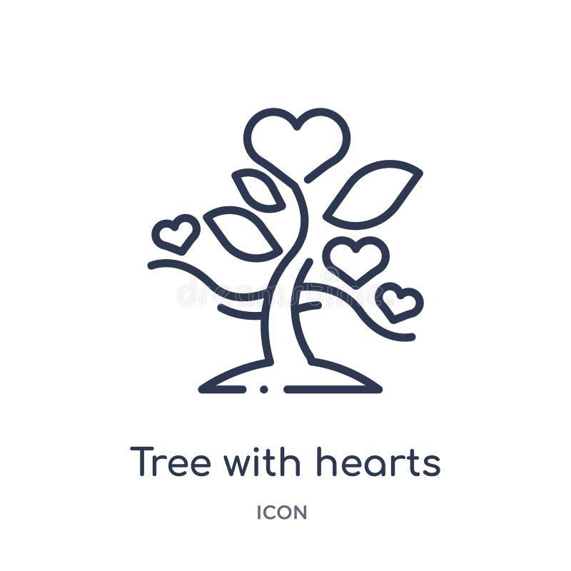 Linearer Baum mit Herzikone von der Ökologieentwurfssammlung Dünne Linie Baum mit Herzvektor lokalisiert auf weißem Hintergrund B lizenzfreie abbildung