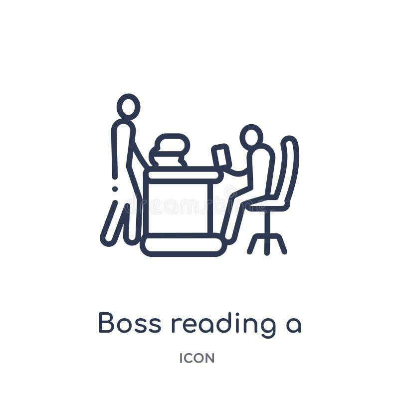 Linearer Chef, der eine Dokumentenikone von der Geschäftsentwurfssammlung liest Dünne Linie Chef, der eine Dokumentenikone lokali lizenzfreie abbildung