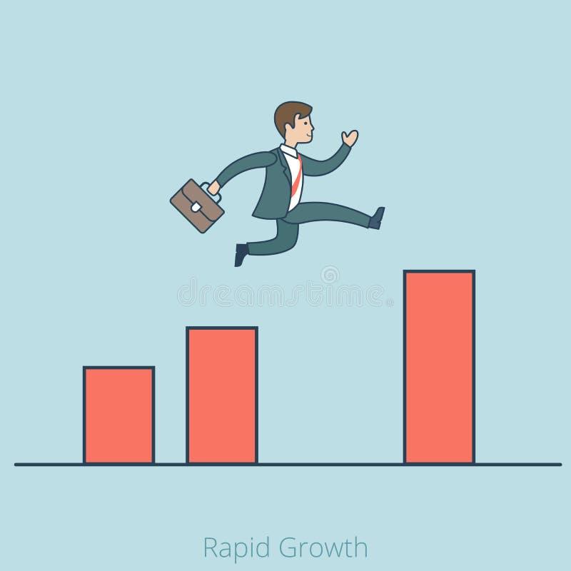 Linearer flacher Mann schnelles Wachstum Geschäfts springen Diagramm stock abbildung