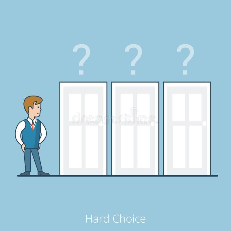 Linearer flacher Vektor der rechten Tür des Geschäftsmannes lizenzfreie abbildung