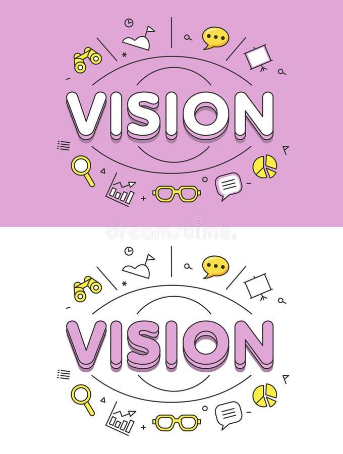 Linearer flacher VISIONS-Augenikonen-Websitevektor lizenzfreie abbildung