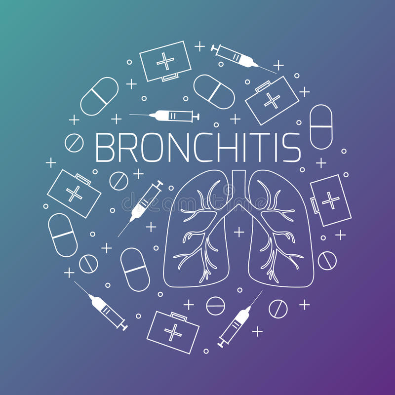 Linearer Ikonensatz der Bronchitis vektor abbildung