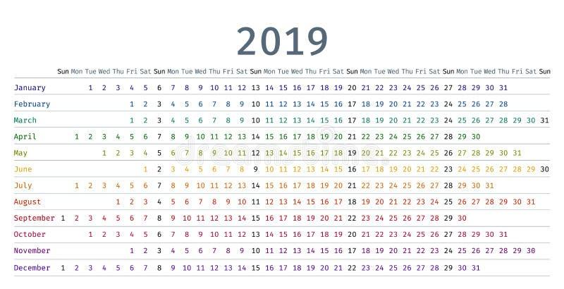 linearer Kalender 2019 in der einfachen Art Auch im corel abgehobenen Betrag vektor abbildung