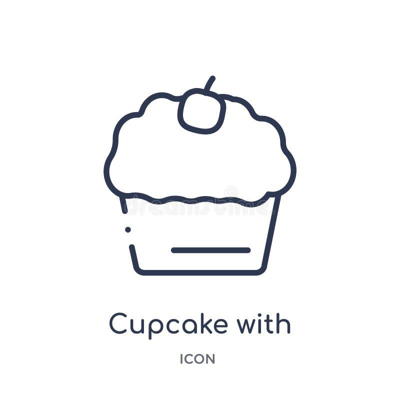 Linearer kleiner Kuchen mit Kirschikone von der Bistro- und Restaurantentwurfssammlung Dünne Linie kleiner Kuchen mit Kirschvekto vektor abbildung