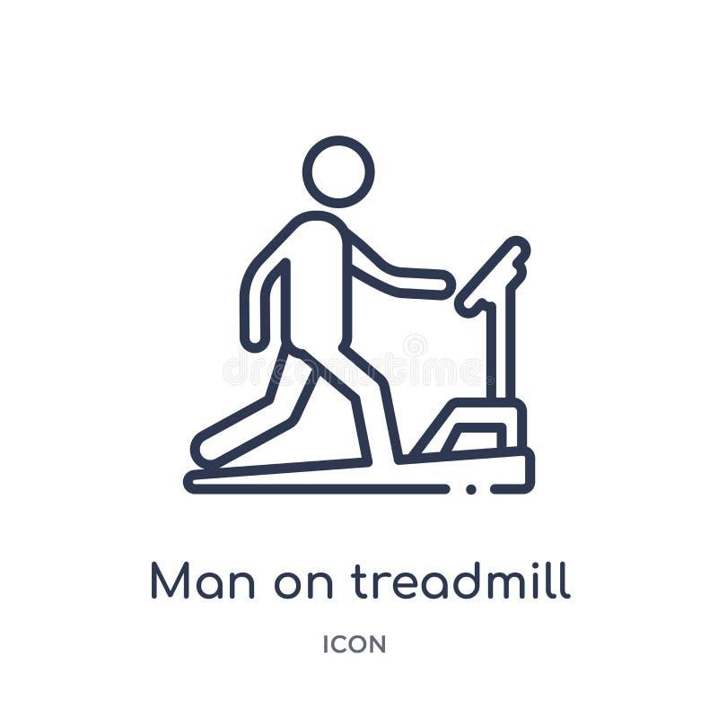 Linearer Mann auf Tretmühlenikone von der Verhaltenentwurfssammlung Dünne Linie Mann auf Tretmühlenvektor lokalisiert auf weißem  lizenzfreie abbildung