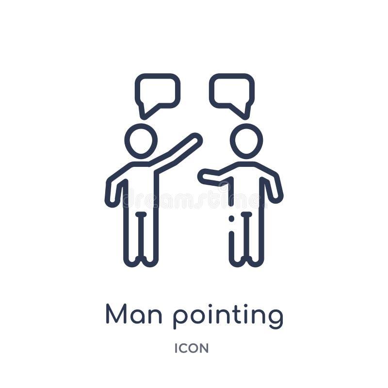 Linearer Mann, der Ikone von der Menschenentwurfssammlung zeigt Dünne Linie Mann, der die Ikone lokalisiert auf weißem Hintergrun lizenzfreie abbildung