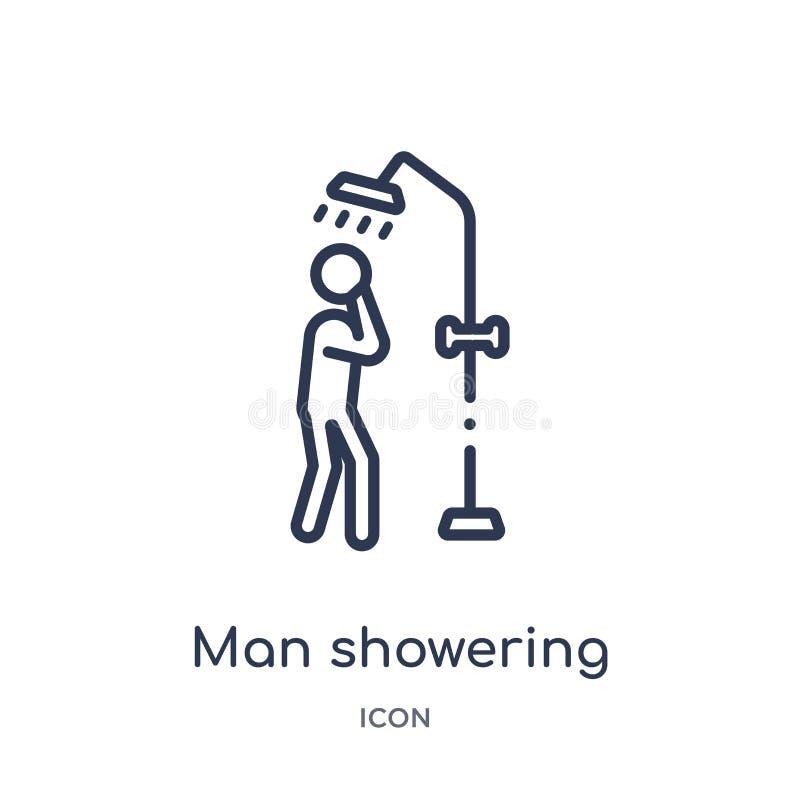 Linearer Mann, der Ikone von der Verhaltenentwurfssammlung duscht Dünne Linie duschender Vektor des Mannes lokalisiert auf weißem stock abbildung