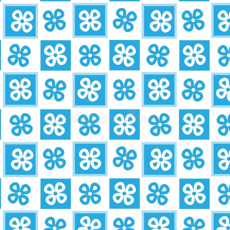 Linearer Musterhintergrund der Form der blauen und weißen Blume karierter lizenzfreie abbildung