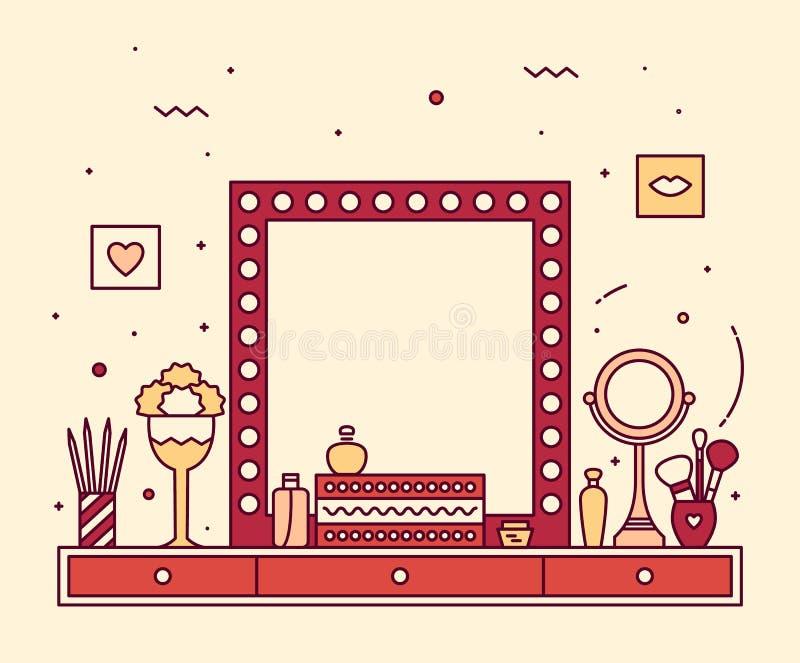 Linearer Spiegel der Make-uptabellen-Eitelkeit, der Vektor kleidet lizenzfreie abbildung