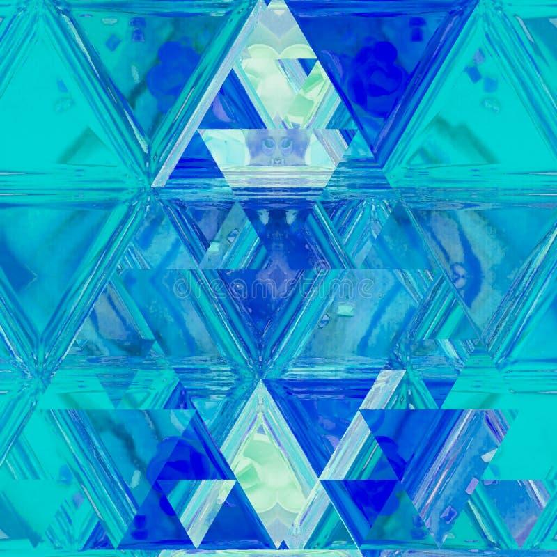 Lineares abstraktes Muster in weißem und in Blauem Glasmosaikfahne Dreieckiger Hintergrund in der Buntglasfliese stockbild