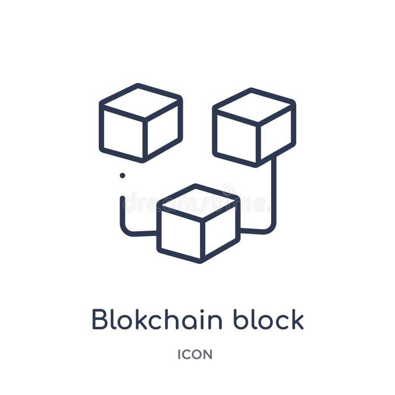 Lineares blokchain blockieren Ikone von Cryptocurrency-Wirtschaft und von der Finanzentwurfssammlung Dünne Linie blokchain Blockv lizenzfreie abbildung