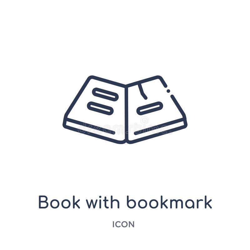 Lineares Buch mit Bookmarkikone von der Ausbildungsentwurfssammlung Dünne Linie Buch mit der Bookmarkikone lokalisiert auf weißem lizenzfreie abbildung