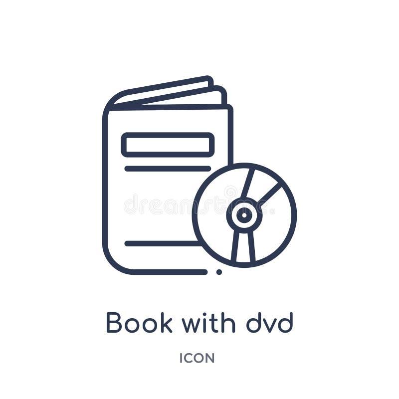 Lineares Buch mit dvd Ikone von der Handelsentwurfssammlung Dünne Linie Buch mit dvd Ikone lokalisiert auf weißem Hintergrund Buc vektor abbildung